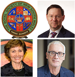 Collage of the RSNSW Seal, Professor John Rasko, Rrofessor Sandra Lynch and Professor Huw Price